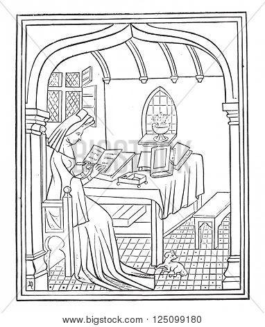 Christine de Pisan in her study, vintage engraved illustration. Magasin Pittoresque 1857.