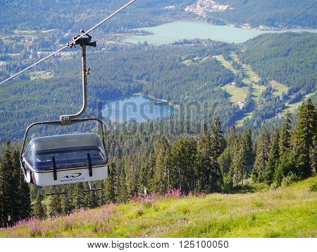 WHISTLER, BC, CANADA - August 18, 2015 :Solar Coaster Chairlift on Blackcomb Mountain Whistler. Whistler, BC, Canada, August 18 2015.