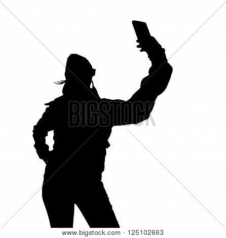 Sports selfies woman silhouette, black backlight isolated on white background. poster
