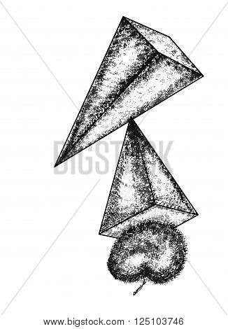 Pyramid on a white background. Abstract vector design in cubism style can use for posters cards stickers illustrations as decorative element.