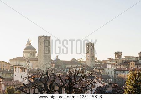 View over Citta Alta or Old Town buildings in the ancient city of Bergamo, Lombardia, Italy on a clear day