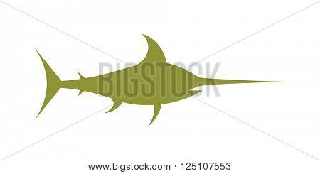Swordfish ocean water animal marlin wildlife vector cartoon illustration.