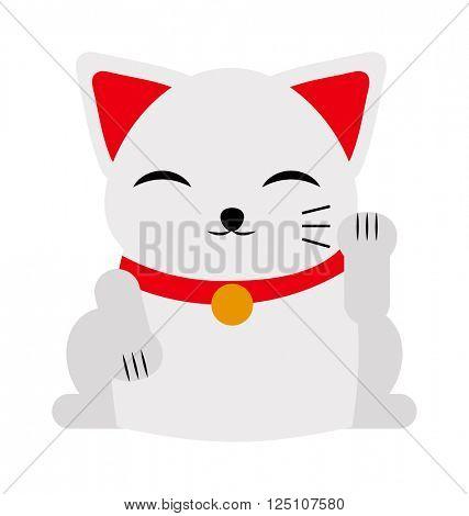 Japanese maneki neko lucky cat fortune symbol success kitty toy cartoon vector illustration.