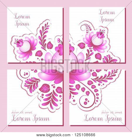 Cards with pink floral ornament. Square labels in four variants for Women's Day Mother's Day Bithday Anniversary. Vector illustration