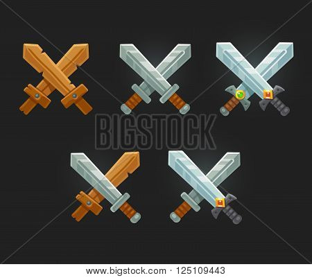 Crossed swords icon set for game of web. Cartoon vector sword emblems.