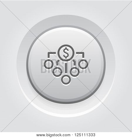 Return on Investment Icon. Business Concept. Grey Button Design