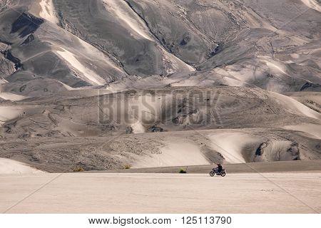 Dark sand dunes inside Mount Bromo volcano caldera, Java, Indonesia