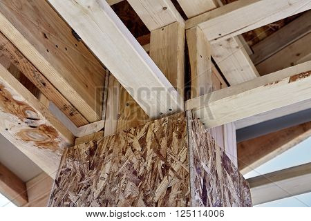 Home Building Construction Carpentry corner post roof framing closeup