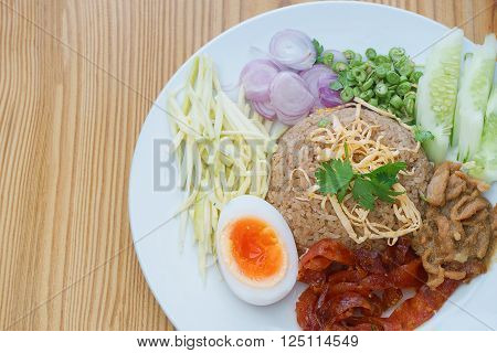 Fried rice with Shrimp paste Thai style food. Thailand's national dishes.