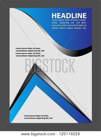 Brochure flyer background vector template design blue