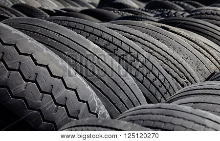 Used Commercial Tires Closeup For Recycling Industry