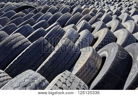 Tires In Rows For Disposal Industry Recycling