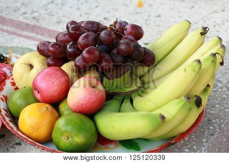 Mixed fruits for praying ancestors in Chinese traditional belief