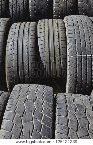 Used Tires Ready For Recycling Industry
