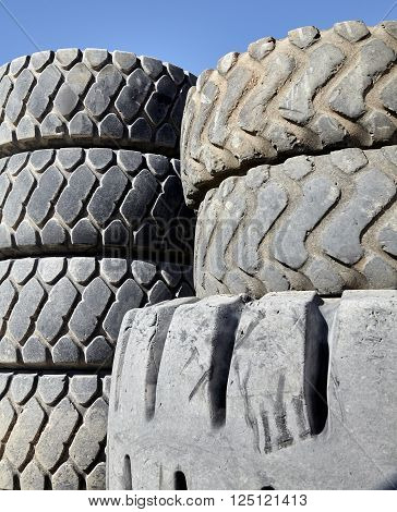 used tires from transportation ready for recycling disposal industry