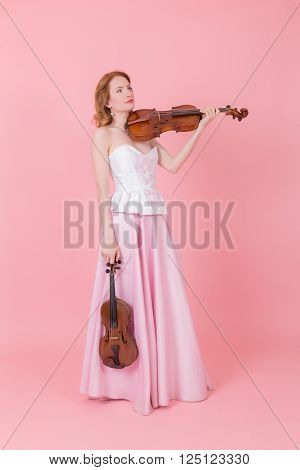 portrait of a girl with a violin and viola