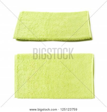 Single green terry cloth towel isolated over the white background, set collection of two different foreshortenings