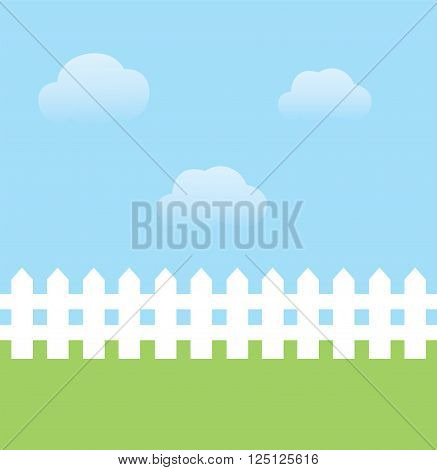 vector illustration of background with sky grass fence