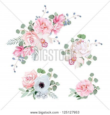 Sweet wedding bouquets of rose peony orchid anemone camellia blue berries and eucaliptis leaves. Vector design elements.