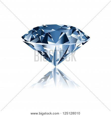 Diamond isolated on white photo-realistic vector illustration