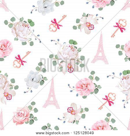 Romantic Paris seamless vector print. White and pink pattern with Eiffel towers keys and flower bouquets. Camellia orchid rose peony eucaliptus anemone.
