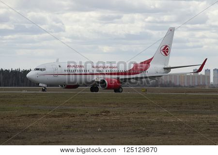 MOSCOW, RUSSIA - APRIL 15, 2015: The Boeing 737-800 (7T-VKA) company Air Algerie landed at Sheremetyevo airport