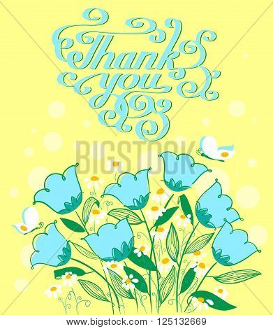 Vector grateful card in doodle style with flowers and cute Thank you lettering