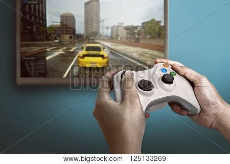 Hand Holding Game Console Controller Playing Game