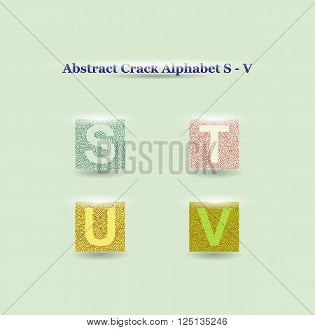 Modern Vector Crack Alphabet uppercase. Crack Font. ABC uppercase Crack Letters. Modern crack pattern Lettering. Crack Alphabet capital letter