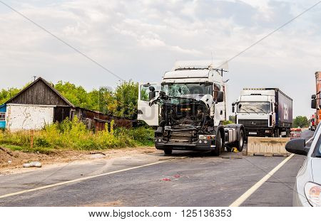 SAMARA RUSSIA - AUGUST 26 2015: The accident on the road M10 Samara - Moscow. The view from the car window