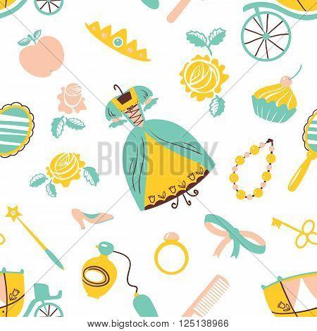 Cute beauty Princess accessory vector seamless pattern