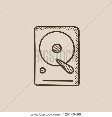 Hard disk sketch icon.