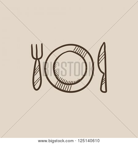 Plate with cutlery sketch icon.