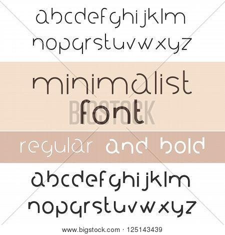 Minimalist Font Bold And Regular. Minimalism Style Sans Serif Typeface Set. Trendy Mono Line Latin Alphabet. Lowercase. Vector