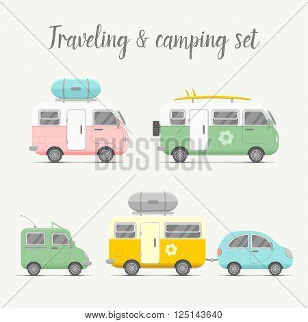 Vector transport caravan and trailer set. Mobile home types vector illustration. Traveler truck flat vector icon. Family traveler truck summer trip concept. Logo or emblem concept