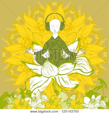 Man sitting in lotus position in lotus flower. Colorful. Stock vector.