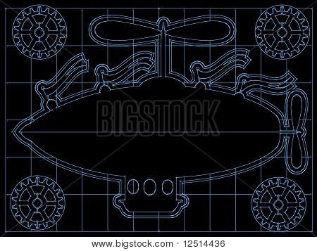 Fantasy Airship Blueprint Gears, Flags Outline On Grid