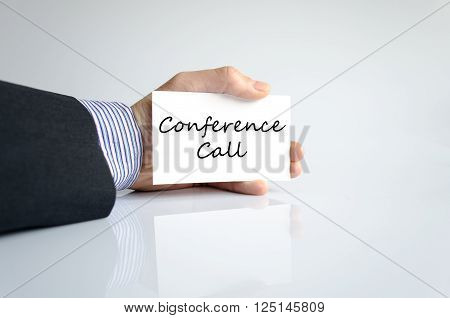 Conference call text concept isolated over white background