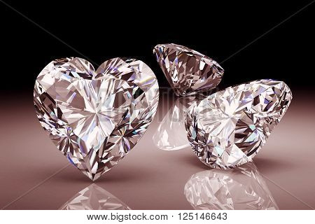 Diamond on black background.High quality 3d render