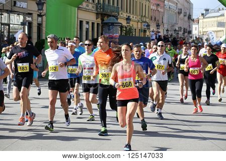 NOVI SAD, SERBIA - APRIL 03: Starting runners, participants in the Novi Sad Marathon in Novi Sad, Serbia on April 03, 2016.