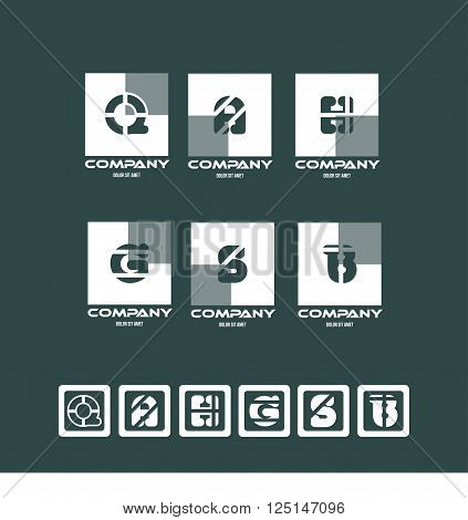 Vector company logo icon element template alphabet letter set square flat