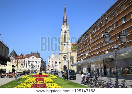 NOVI SAD, SERBIA - APRIL 03: View on Catholic Cathedral from street Modene in Novi Sad, which in this city keeps the summer music festival EXIT. Photographed the in Novi Sad, Serbia on April 03, 2016.