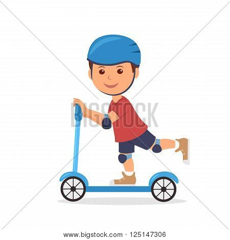 Cheerful boy riding a scooter. The isolated character of the child in a helmet and elbow pads with knee pads for safely riding a scooter.