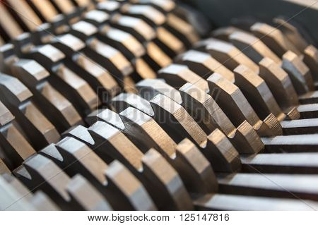 Steel Blades Of A Cutting Machine Close Up