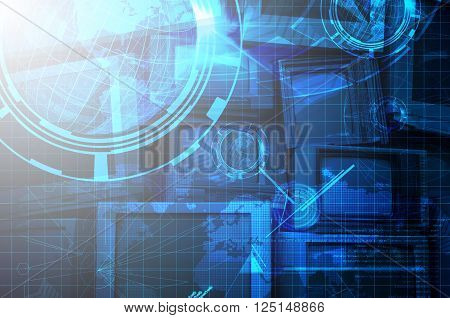 Double Exposure of Television with Technology Background as Internet or Telecommunication Concept