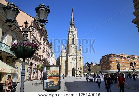 NOVI SAD, SERBIA - APRIL 03: View of Liberty Square (Trg Slobode) in Novi Sad, which in this city keeps the summer music festival EXIT. Photographed the in Novi Sad, Serbia on April 03, 2016