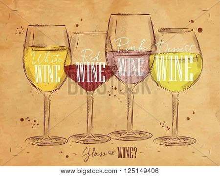 Poster wine types with four main types of wine lettering white wine red wine pink wine dessert wine drawing in vintage style on kraft background