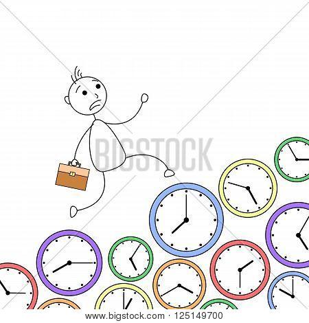 Cartoon stick man running over clocks in hurry