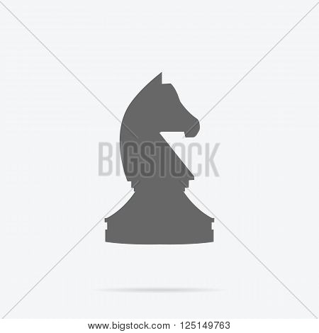 Chess knight strategy monochrome icon design. Chess and knight, chess horse, knight chess piece, strategy game, play leisure, sport chess intelligence, business strategy figure, vector illustration