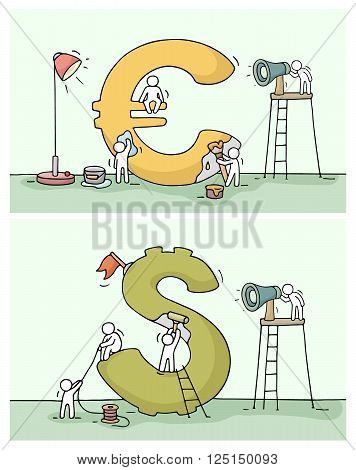 Sketch of euro and dollar sign with working little people. Doodle cute miniature of construction currency and preparing for the big profit. Hand drawn cartoon vector illustration for business design.